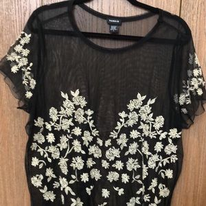 Torrid black and gold floral mesh top